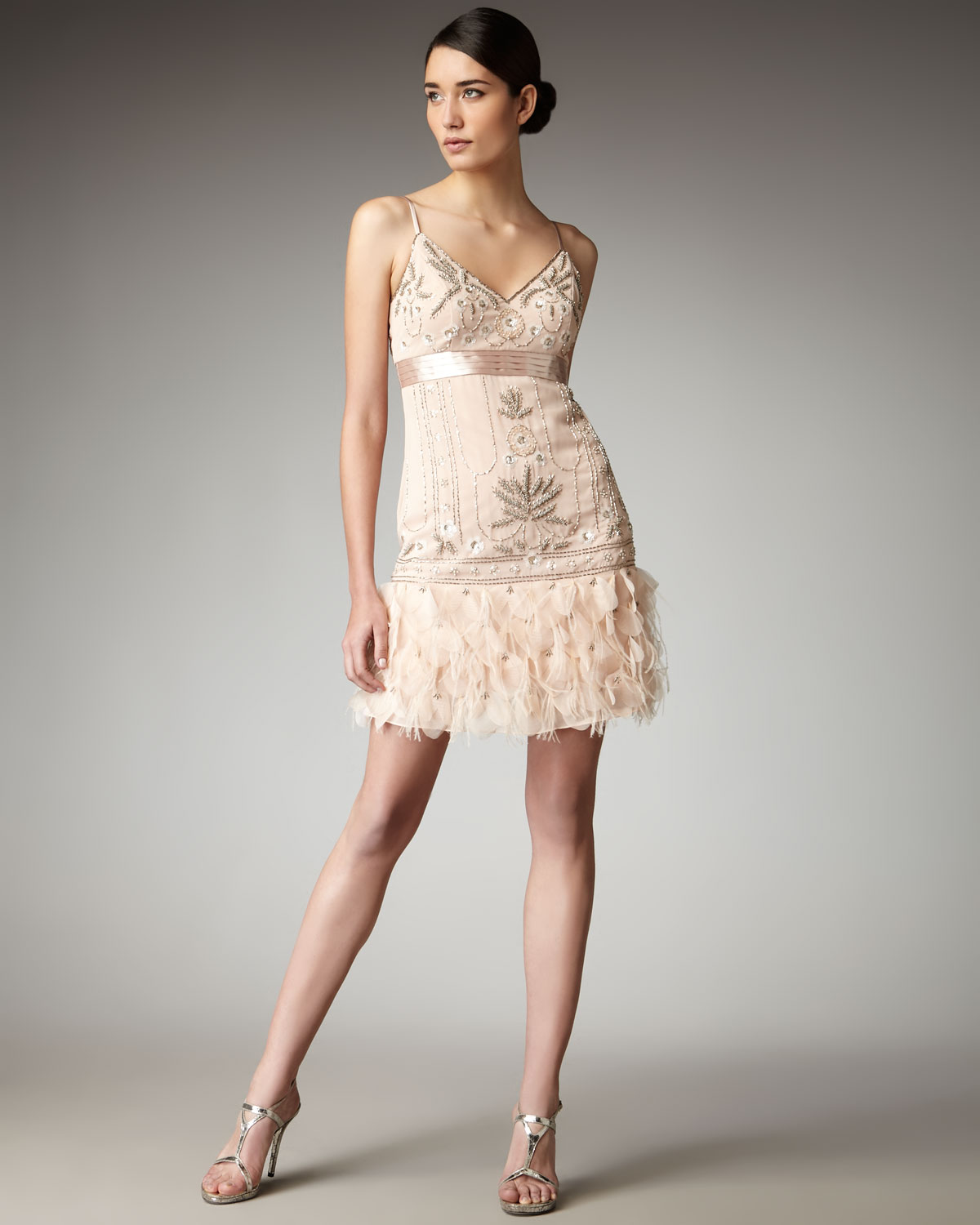 Sue wong Feather-bottom Beaded Dress in Natural | Lyst