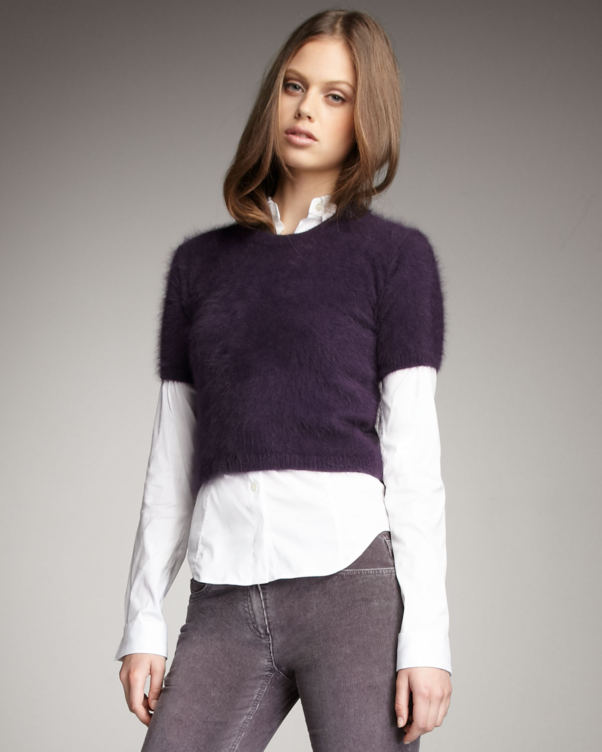 Theory Fuzzy Short-sleeve Sweater in Purple | Lyst