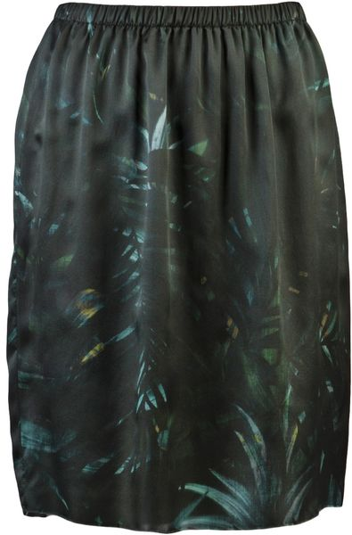 Lanvin Leaf Print Skirt in Green - Lyst