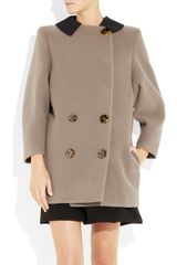 Miu Miu Contrast-collar Wool-twill Coat - Lyst