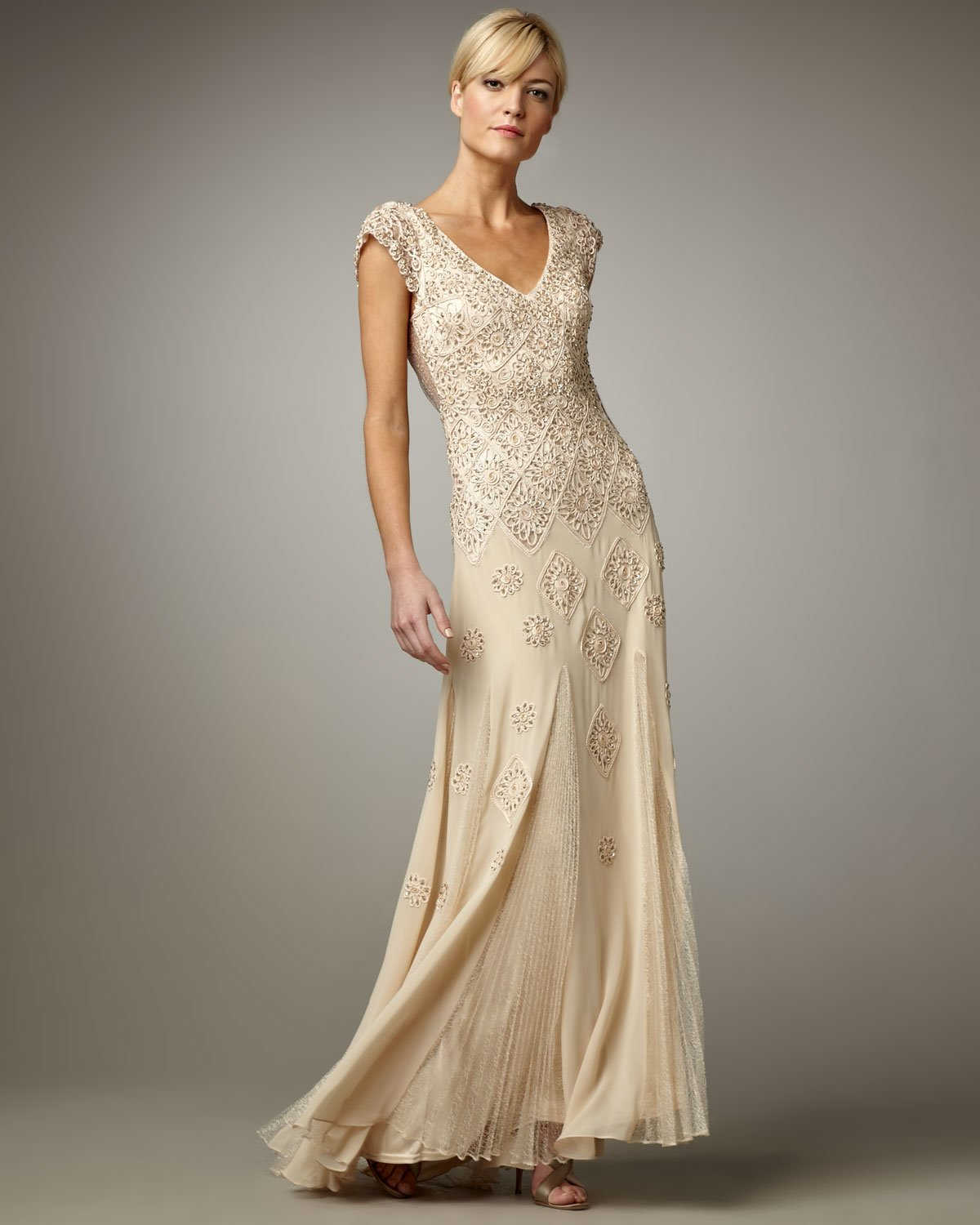 Sue Wong Cap-sleeve Gown In Gold (champagne)