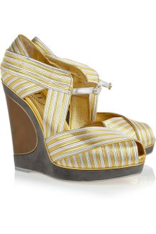 Yves Saint Laurent Maggy Metallic Leather Wedges - Lyst