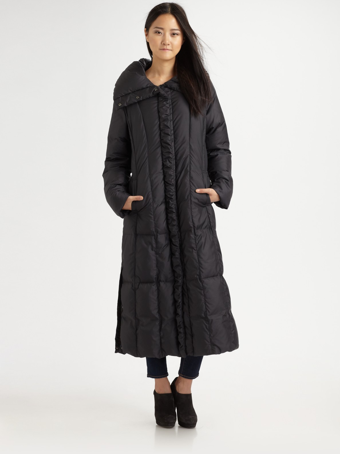 Cole Haan Full Length Quilted Puffer Coat In Black Lyst