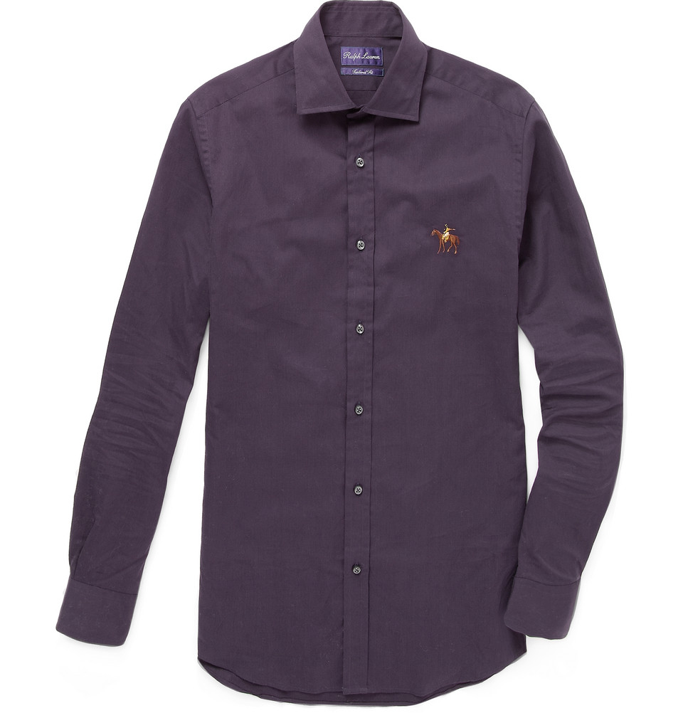 ralph lauren purple label cotton shirt with polo emblem in