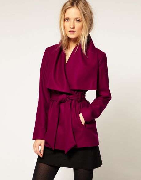 Ted Baker Wrap Collar Detail Short Wool Belted Coat in Purple - Lyst