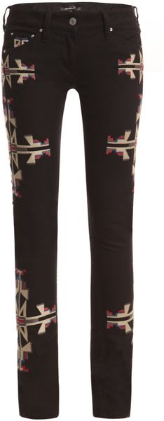 Isabel Marant Renell Navajo Embroidered Jeans In Black | Lyst