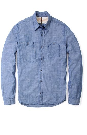 Nudie Jeans Blue Organic Chambray Work Pocket Shirt - Lyst