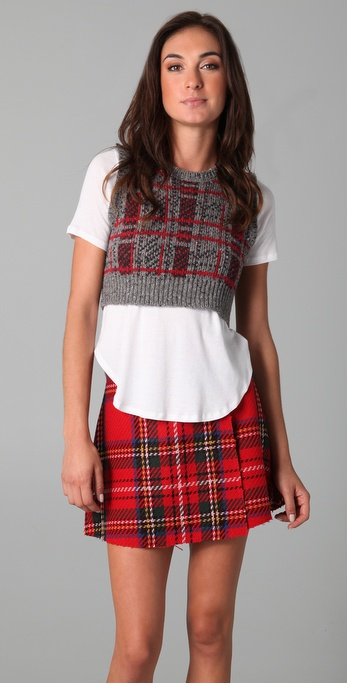 Opening ceremony Plaid Cropped Sweater Vest in Gray | Lyst