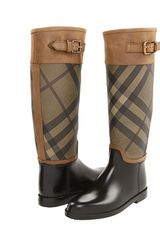 Burberry Smoked Check Leather Trim Rain Boot - Lyst