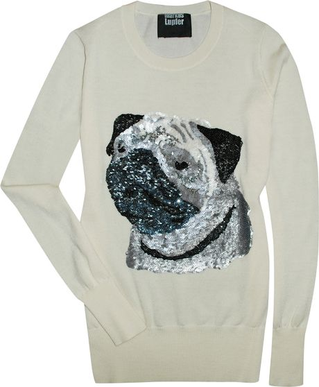 Knitting Pattern For Pug Jumper : Markus Lupfer Sequin Pug Sweater in White (ivory) Lyst