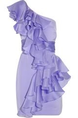 Notte By Marchesa Ruffled One-shoulder Silk-satin Dress - Lyst