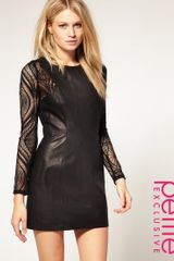 ASOS Collection Asos Petite Exclusive Leather Dress with Lace Insert Sleeves - Lyst