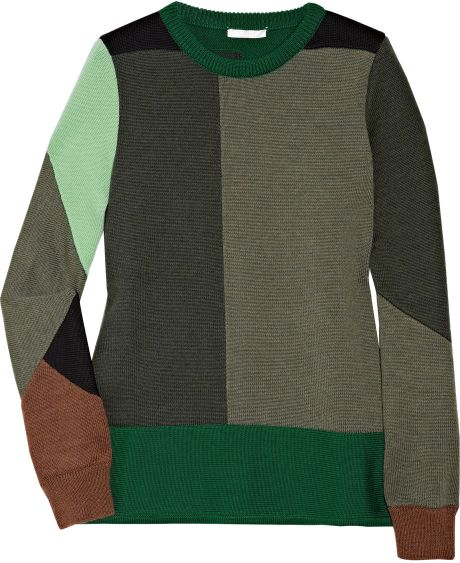 Chloé Colorblock Wool Sweater in Multicolor (multicolored) - Lyst