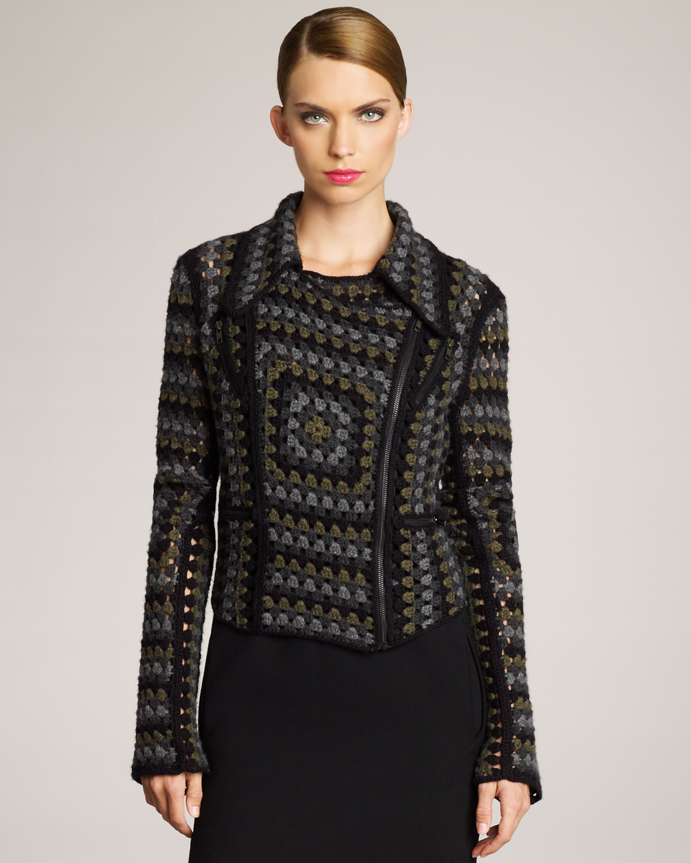 Lyst Christopher Kane Cashmere Crochet Jacket In Gray