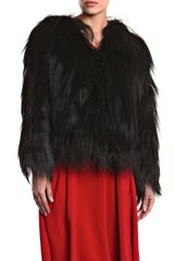 Diane Von Furstenberg Khiari Fur Coat in Black - Lyst