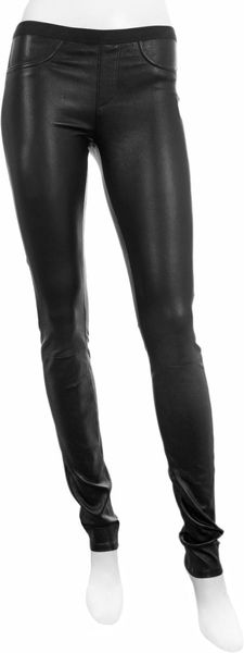 Helmut Lang Leather Stretch Leggings in Black - Lyst