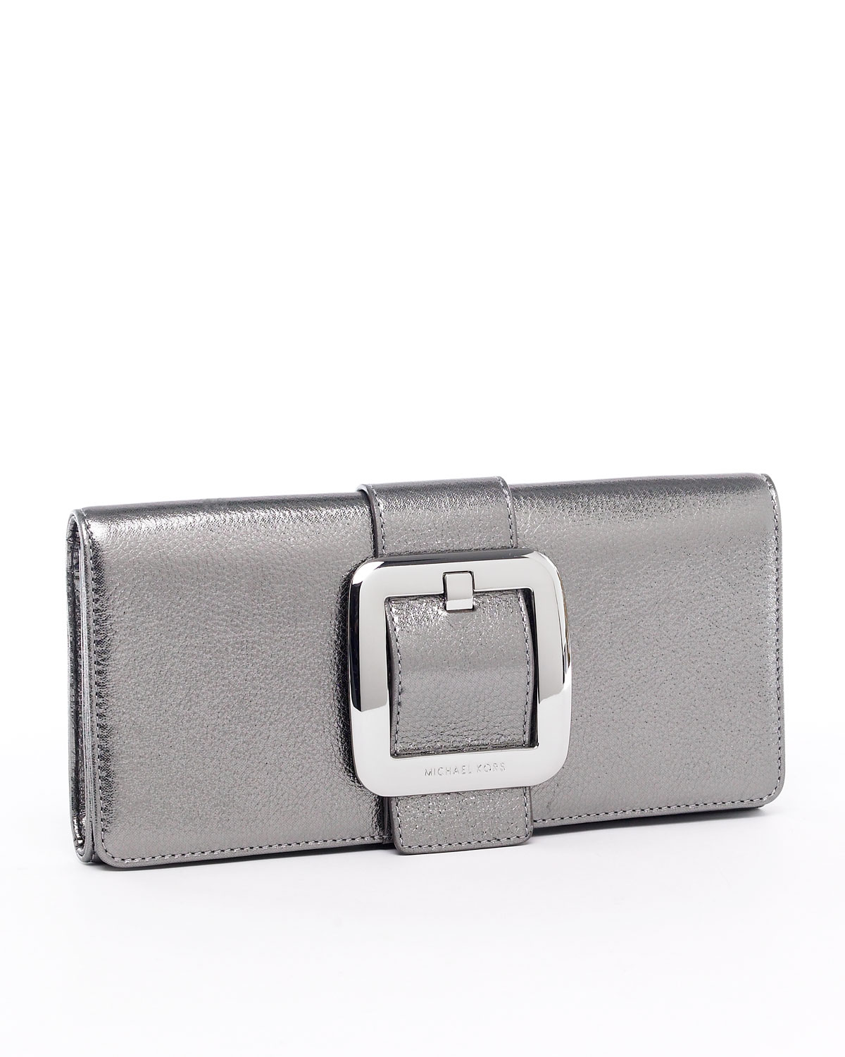 michael by michael kors sutton clutch nickel in silver. Black Bedroom Furniture Sets. Home Design Ideas