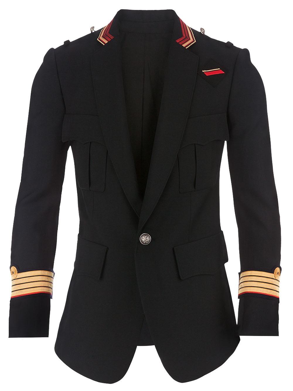 Balmain military jacket in black for men lyst