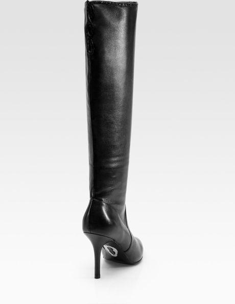 elie tahari mischa leather lattice knee high boots in