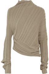 Alexander Wang Asymmetric Ribbed Cotton Sweater in Brown (taupe) - Lyst