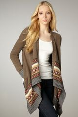 Autumn Cashmere Fair Isle Draped Cardigan - Lyst