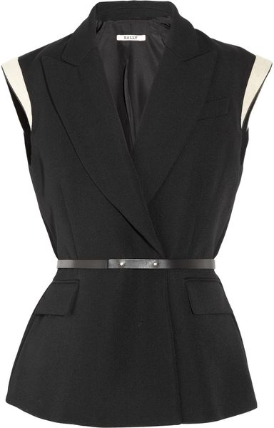 Bally Sleeveless Woolpiqué Blazer in Black - Lyst