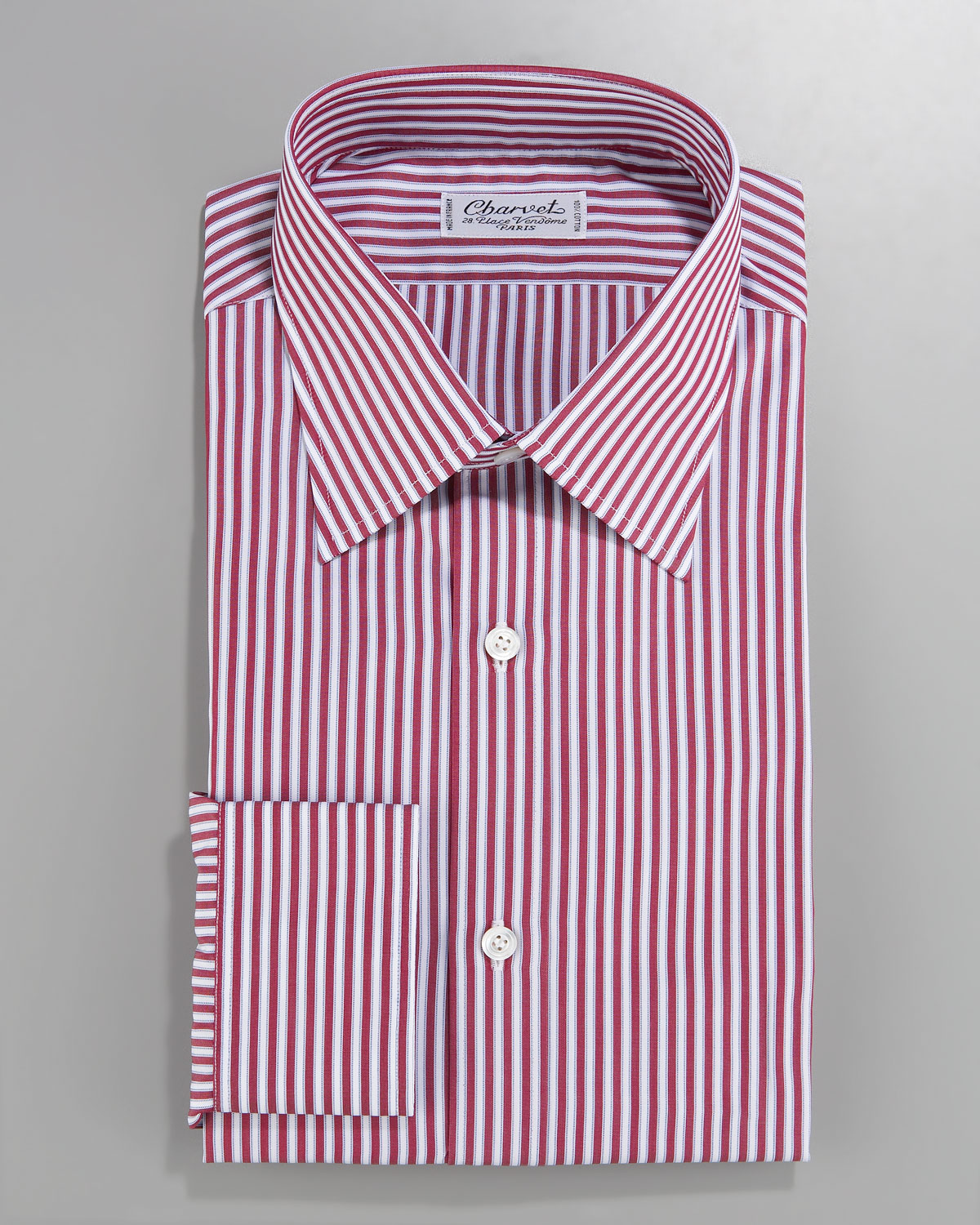 Charvet striped dress shirt red white in red for men lyst for Mens red and white striped dress shirt