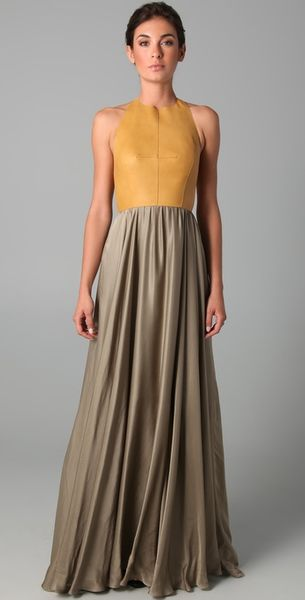 Derek Lam Halter Gown with Leather Bodice - Lyst