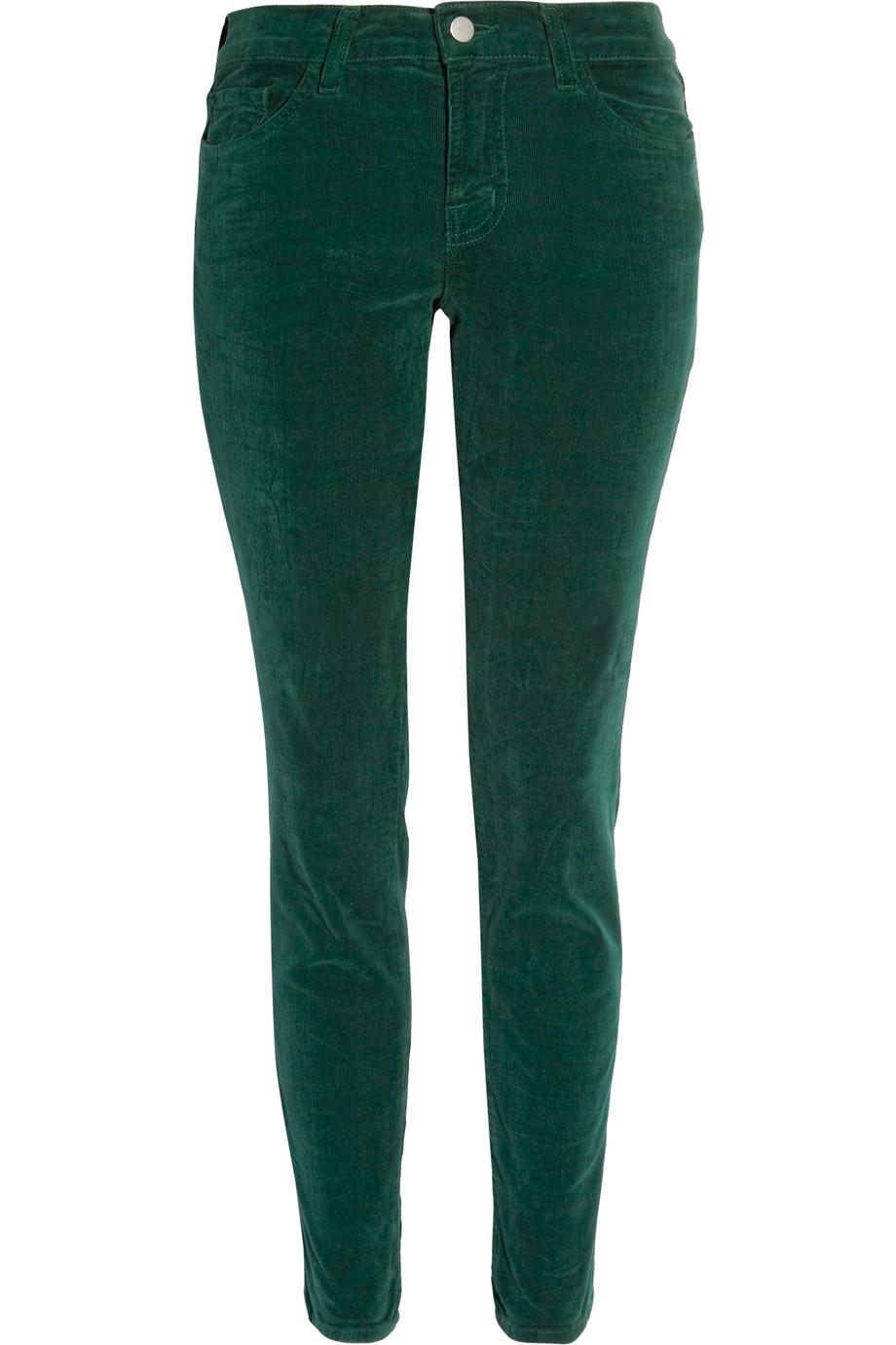 J brand Mid-rise Corduroy Skinny Jeans in Green  Lyst