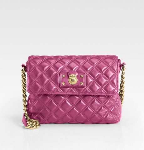 Marc Jacobs Quilting The Large Single Leather Bag in Purple (berry)