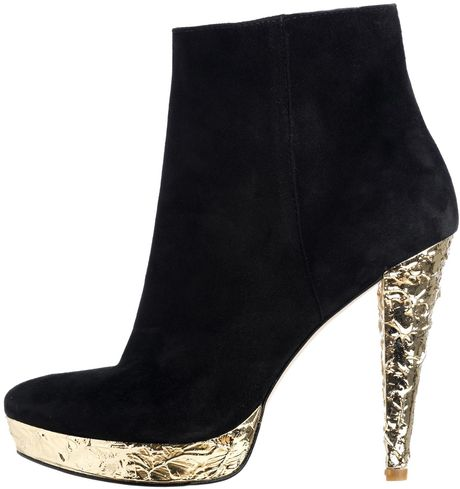 Reiss Gold Heel Boot in Black - Lyst