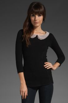 Smythe Peter Pan Collar Top in Black/blush - Lyst