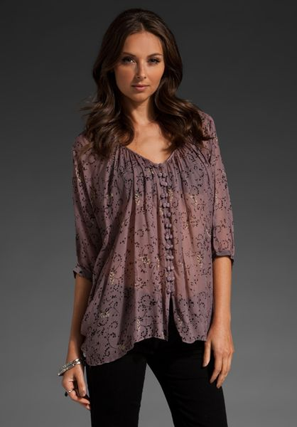 Winter Kate Tiger Lily Blouse In Plum Black In Purple