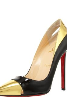 Christian Louboutin Two-tone Cutout Pump - Lyst