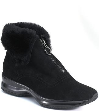 Stuart Weitzman Walking Shoes Rubber Sole Zipper Black