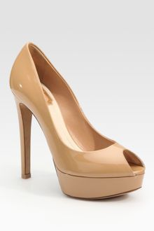 Dior Miss Patent Leather Peep Toe Pumps - Lyst