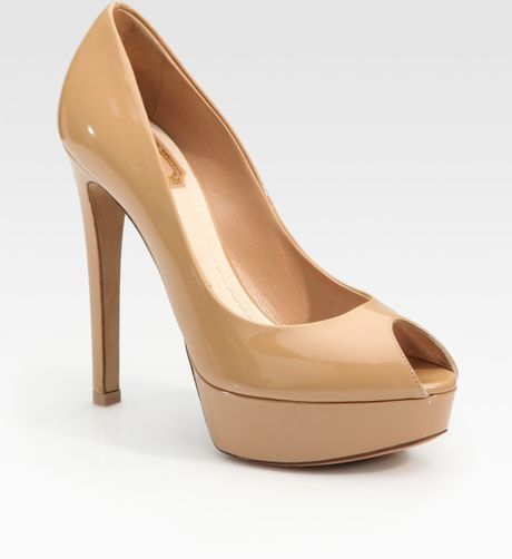 Dior Miss Patent Leather Peep Toe Pumps in Beige - Lyst