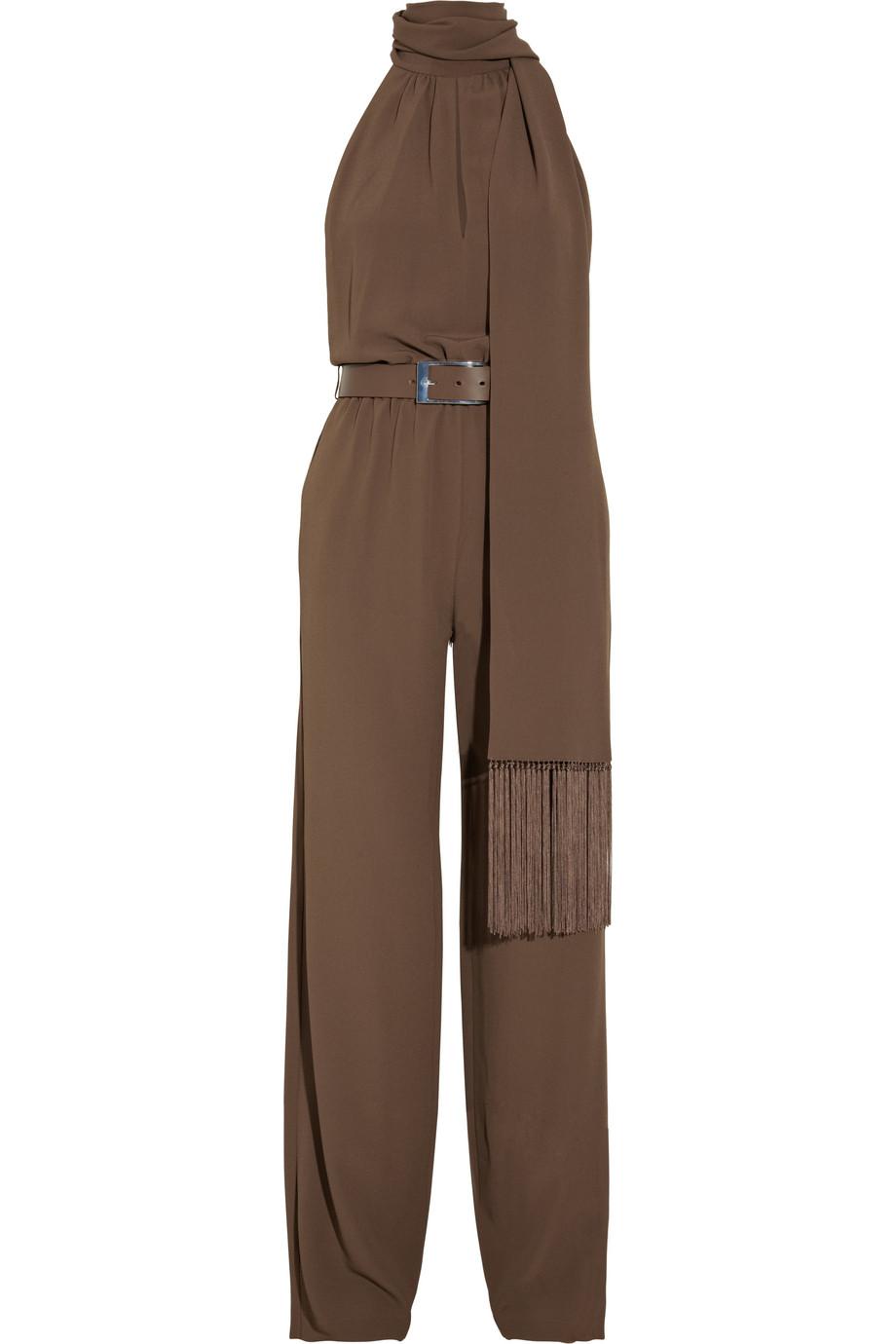 michael kors belted silk blend crepe jumpsuit in brown cocoa lyst. Black Bedroom Furniture Sets. Home Design Ideas