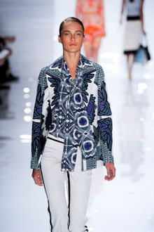 Derek Lam Spring 2012 White and Blue Blouse - Lyst
