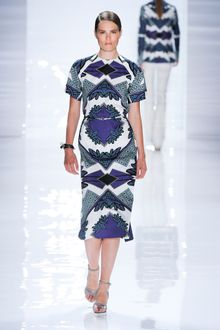 Derek Lam Spring 2012 Blue and White Short Sleeve Dress  - Lyst