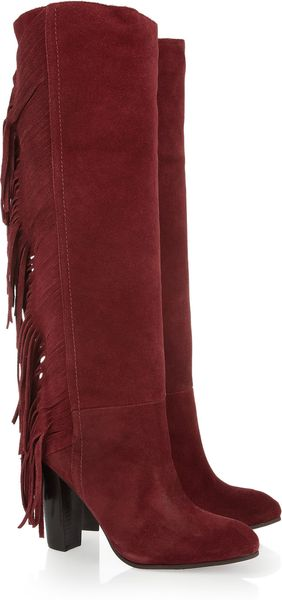 Diane Von Furstenberg Penn Fringed Leather Knee Boots - Lyst