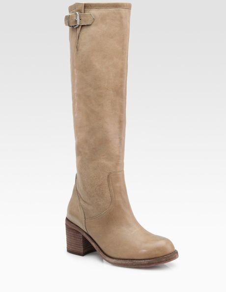 dolce vita jeneva leather knee high buckle boots in beige