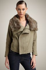 Joie Helene Fur-trim Jacket - Lyst