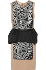 Marni Appliqué Peplum Wool-blend Dress - Lyst