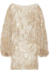 Notte By Marchesa Metallic Silk-blend Dress