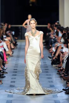 Zac Posen Spring 2012 Gold Cup-Sleeve Mermaid Dress - Lyst