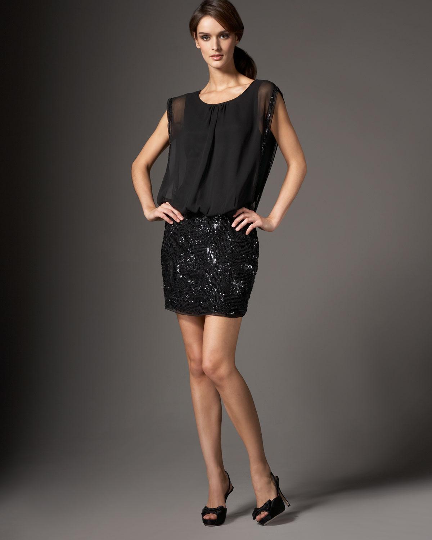 Aidan Mattox Beaded Skirt Blouson Dress In Black Lyst