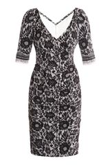 Dolce & Gabbana Lace Print Ruched Dress - Lyst