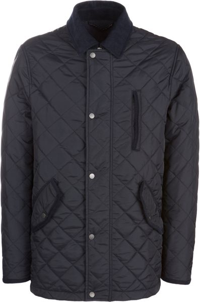 John Lewis Men Classic Quilted Jacket Navy In Blue For Men