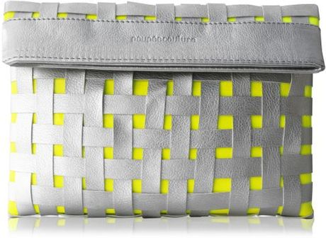 Poupee Couture Woven Apart Clutch in Silver + Neon Yellow in Silver - Lyst